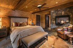 Rustic Style Bedroom Ideas Thanks for visiting our rustic bedroom photo gallery where you can search rustic bedroom design ideas. We hope you find your inspiration here. We add. Rustic Cabin Master Bedroom, Lodge Bedroom, Pine Bedroom, Rustic Bedroom Design, Bedroom Fireplace, Master Bedroom Design, Brown Master Bedroom, Cabin Bedrooms, Fireplace Mantles
