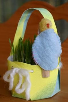 toddler craft: spring chick puppet in an egg/clothespin