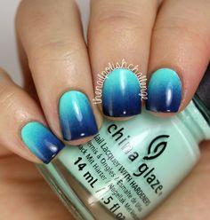 China Glaze Blue Gradient Nail Polish Art