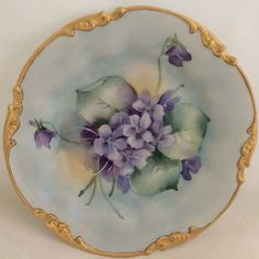 Hand Painted Violets J P Limoges 7.25 in Plate Excellent Gold Signed