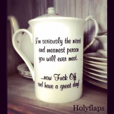 Bone China 'I'm seriously the nicest and meanest person you will ever meet…' Mug | Holyflaps | BEAUTIFULLY DEFACED