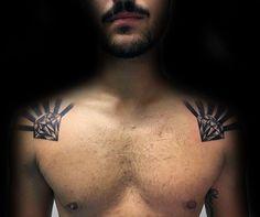 Manly Guys Shoulders Diamond Sun Rays Tattoo