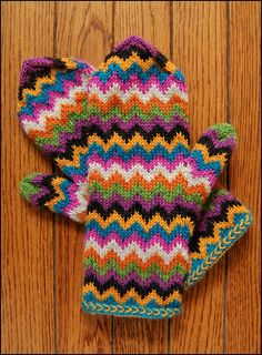 Ooh, I should knit these chevron mittens in white and a self-striping yarn. I bet that would be cool-looking!