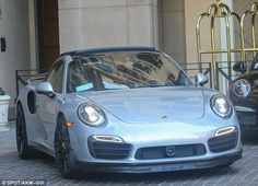 Hot wheels: The racer took his new ride, which retails in excess of £145,000, for a spin to Sugar Fish in Beverly Hills where he met a pal for lunch