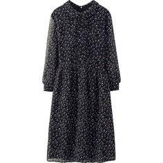 WOMEN CHIFFON PRINTED 3/4 SLEEVE DRESS