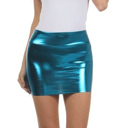 "Sizes: Small ( US Size 0-2, Length 13"" ) / Medium ( US Size 4-6 Length 13"") / Large ( US Size 8-10 Length 14"" ) / X-Large ( US Size 12-14 Length 14"" ) Sakkas' metallic mini skirt features jersey lined"