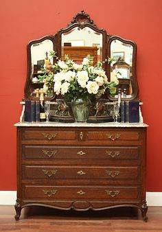 Antique French Oak & Marble Topped Mirror Back Dressing Table Washstand Chest  *Because* Antiques & Interiors