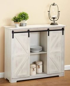 Country Kitchen Decorative Buffet Storage Display Cabinet with Barn Style Doors Furniture Kitchen Display Cabinet, Barn Door Cabinet, Buffet Cabinet, Sideboard Buffet, Cabinet With Doors, Display Cabinets, Kitchen Storage, Kitchen Cabinets, Door Furniture