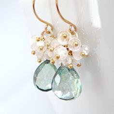 Teal Green Quartz Moonstone Earrings in 14k Gold Fill, Handmade Gemstone Cluster Earrings by aubepine on Etsy https://www.etsy.com/listing/48740429/teal-green-quartz-moonstone-earrings-in