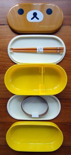 San-X Rilakkuma Relax Bear 2 Tier Japanese Bento Box With Rilakkuma Chopsticks u0026 Strap & Digger Shaped Kids Cutlery Set | Cutlery set Shapes and Spoon
