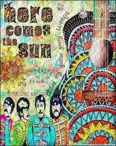 Beatles poster art,retro beatles art, music,beatles music,here comes the sun,sgt peppers,yellow submarine,sixities,retro art,guitar art on Etsy, $18.00