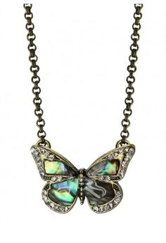 Retro Crystal Butterfly Necklace