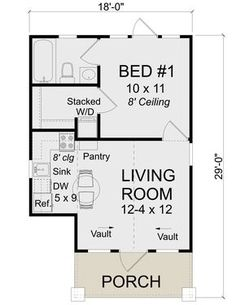 1 Bedroom House Plans, Cottage Floor Plans, Small House Floor Plans, Bungalow House Plans, Best House Plans, Mother In Law Apartment, Square House Plans, In Law House, Studio Floor Plans
