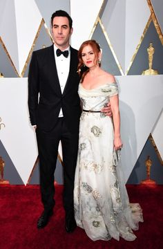 Sacha Baron Cohen and Isla Fisher at the 88th Annual Academy Awards