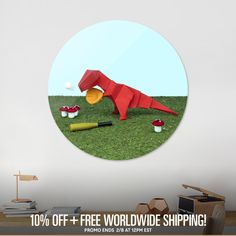 Discover «Yes T-Rex can!», Exclusive Edition Disk Print by José Manuel Ríos Valiente - From 80€ - Curioos