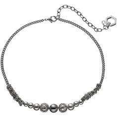 Simply Vera Vera Wang Chain Wrapped Beaded Choker Necklace (19 AUD) ❤ liked on Polyvore featuring jewelry, necklaces, silver and simply vera