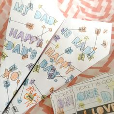 Paper Airplane and Date with Dad Tickets for Father's Day!