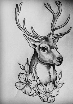 Pencil Art Drawings, Cool Art Drawings, Art Drawings Sketches, Tattoo Drawings, Animal Sketches, Animal Drawings, Petit Tattoo, Deer Tattoo, Deer Art