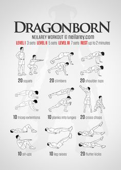 "Fus Ro Dah! A strength workout for every adventurer out there who has managed to dodge the arrow - ""You are the chosen one."" (Do not let it go to your head). Skyrim inspired workout. Instructions: Repeat each move with no rest in between until the..."