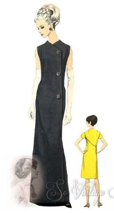1960s ELEGANT Evening or Day Dress Pattern Galitzine VOGUE COUTURIER Design 1591 Striking Side Button Dress Bust 36 Vintage Sewing Pattern