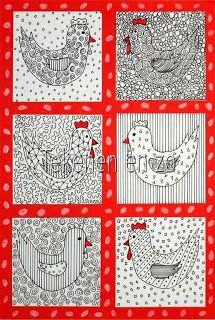 Tekenen en zo: middenbouw: kippen met patroontjes