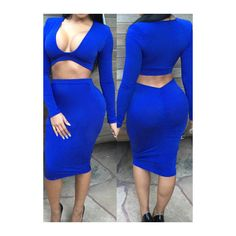 Rotita Royal Blue Plunging Neck Two Piece Dresses featuring polyvore women's fashion clothing dresses blue long-sleeve maxi dress sexy dresses sheath dress blue sheath dress knee length dresses