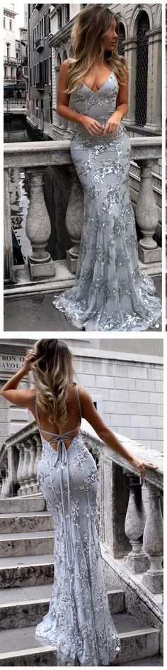 Sexy Prom Dresses,V-Neck Prom Dress,Mermaid Prom Dresses,Sequined Evening Dresses,Backless Evening Gowns,Long Prom Dresses