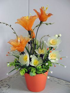 Handmade Colorful Nylon Flower Arrangement