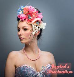 Baby Blue Pink White Pearl Bird Floral Fascinator Blossom Antoinette Bridal Costume Headdress Garden Tea Party Hat Flower Crown Headpiece