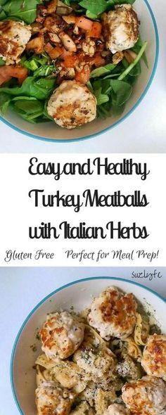 Easy, Healthy Turkey Meatballs with Italian Herbs | Simple, delicious, and perfect for your healthy meal prep! Gluten free and dairy free recipe. | Suzlyfe.com