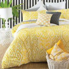 An ikat design in sophisticated tones of mustard and yellow.