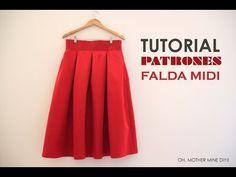 DIY Tutoriales y patrones: Falda Midi Valentino - YouTube