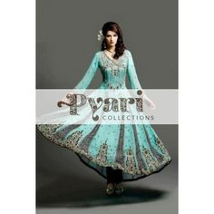 Black and blue Anarkali Salwar Kameez