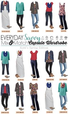 Here is a fun Kohls spring capsule wardrobe. These pieces mix and match to make 15 complete outfits including shoes and accessories.