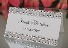 Rhinestone place cards SET OF 25 Bling tent cards by KimeeKouture