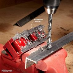 A simple way to keep metal fragments and shavings from flying all over when you're drilling is to put a magnet next to the bit. This keeps metal pieces off the floor, your vise and your body. However, you still need to wear eye protection. When you're done, just clean off the magnet over a trash can.