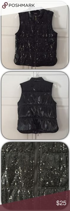 Elegant Chic Black Sequined Puffer Vest This vest is so beautiful! It is just loaded with gorgeous sequins! The back is plain with sequins at the top of the shoulders! It is so hard to capture how stunning this vest is! It has two side pockets! Excellent condition Morgan De Toi  Jackets & Coats Vests