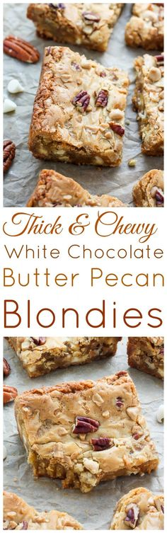 Chocolate Butter Pecan Blondies White Chocolate Butter Pecan Blondies - thick, chewy, and ready in 20 minutes!White Chocolate Butter Pecan Blondies - thick, chewy, and ready in 20 minutes! Blondie Brownies, Cookie Brownie Bars, Chewy Brownies, Brownie Recipes, Cookie Recipes, Dessert Recipes, Pretzel Recipes, Bar Recipes, Just Desserts