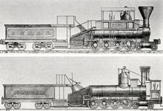 A 4-8-0, (probably the very first 4-8-0) Centipede as built in 1855 (below), and as modified (camelback) for the B&O Railroad in 1864 (above).