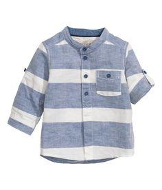 Camisa en mezcla de lino | Azul oscuro/Rayas | Kids | H&M MX