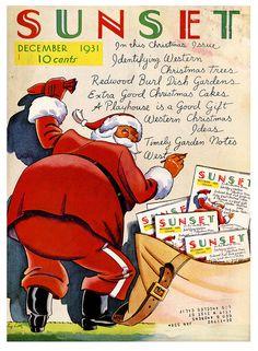Santa on the cover of Sunset magazine, December 1931.
