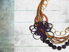 Amethyst Necklace with Suede and Leather  Leather by FILIZASLI, $72.00