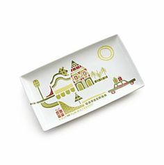 """Yule Town 9.75""""x5.75"""" Appetizer Plate in Christmas Entertaining   Crate and Barrel - cute pattern"""