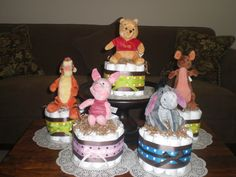 Winnie the Pooh Diaper Cakes Baby Shower Centerpieces Classic Pooh too. $25.00, via Etsy.