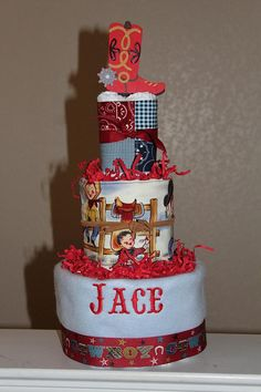 Western Theme Diaper Cake that's 5 gifts in 1!