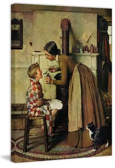 Marmont Hill Take Your Medicine 530 Norman Rockwell Painting Print on Canvas 52 x 40 Home Decor Wall Decor Canvas Art