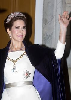 Crown Princess Mary attends Danish Royal Family New Year's reception 2015.