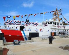 """U.S. Coast Guard Cutter Glen Harris' crew """"man the rails"""" during the vessel's commissioning ceremony at Coast Guard Sector Field Office Fort Macon. Patriotic Poems, Coast Guard Cutter, Travel, Viajes, Destinations, Traveling, Trips"""