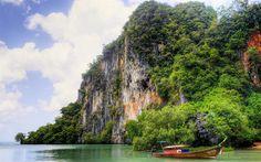 Download wallpapers Thailand, Phuket, sea, tropical islands, boat, tourism, rocks