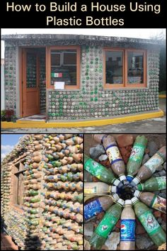 How to Construct Houses with Plastic Bottles! Plastic Bottle House, Plastic Bottle Greenhouse, Reuse Plastic Bottles, Recycled Bottles, Diy Upcycled Decor, Recycled Crafts, Bottle Wall, Pet Bottle, Casas Country